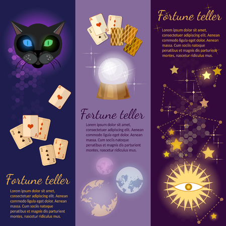 clairvoyant: Astrology and alchemy banners magic fortune telling crystal ball vector illustration