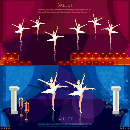 tiptoe: Ballet banners ballerinas dancing on theater stage vector illustration