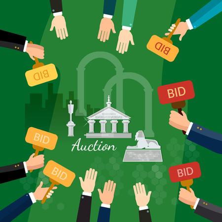 antiques: Auction and bidding selling antiques vector illustration