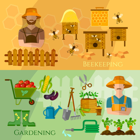cultivation: Gardening and beekeeping banner seedling cultivation vector illustration
