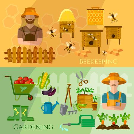 seedling: Gardening and beekeeping banner seedling cultivation vector illustration