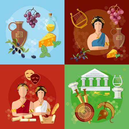 ancient greece: Ancient Greece and Rome tradition history culture vector set collection