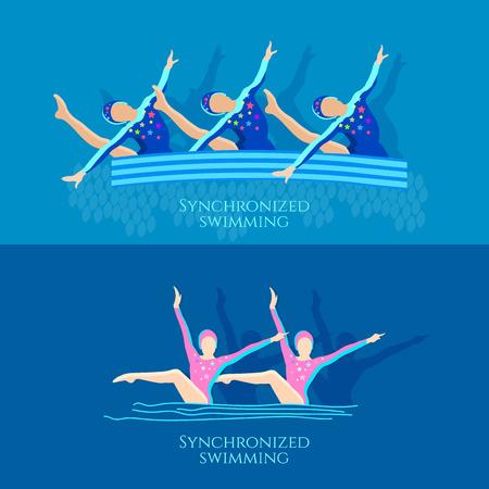 natación sincronizada: ilustración atletas del equipo niñas vector de la bandera de natación sincronizada