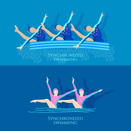 synchronized: Synchronized swimming banner girls team athletes vector illustration