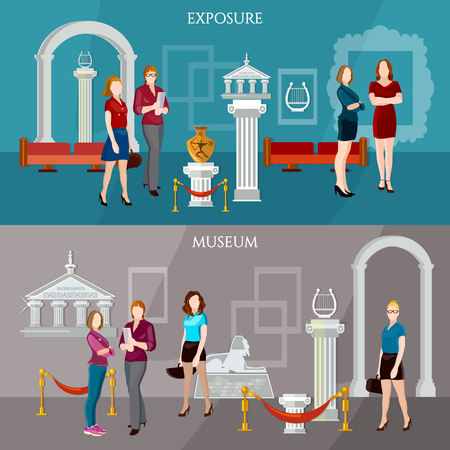 art gallery interior: Gallery exposition banner people visiting antique museum excursion vector illustration Illustration