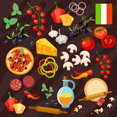 italian sausage: Pizza ingredients italian pizza collection vector Illustration