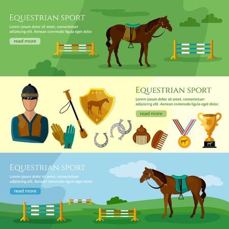 equestrian sport: Equestrian sport banner professional jockey club vector illustration Illustration