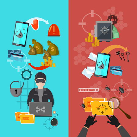 burglary: Hackers attaks activity banner mobile phone hacking vector illustration Illustration