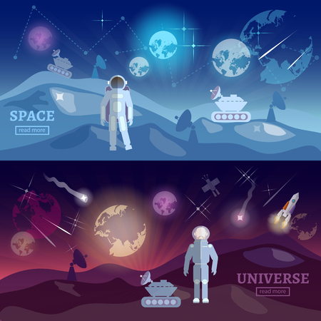 space program: Astronauts space program banner research and space study universe vector illustration