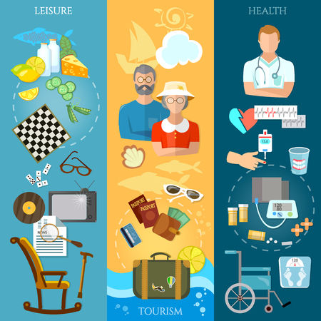 social care: Nursing home banners pensioner active lifestyle social care vector illustration Illustration