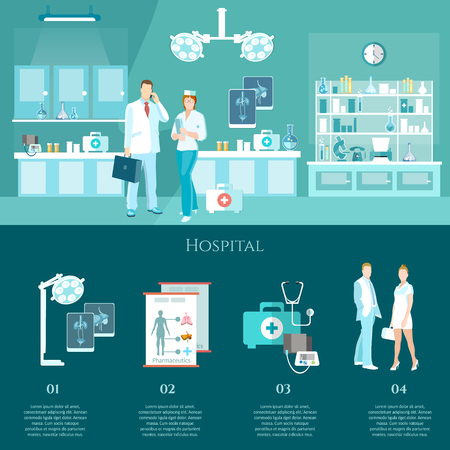outpatient: Medicine banners doctors and hospital interiors health service surgery operation room vector illustration