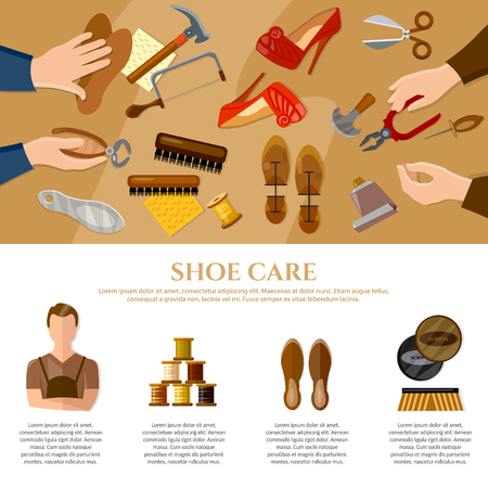 shoe repair: Shoemaker infographics professional equipment cobbler shoe repair shoe care vector illustration