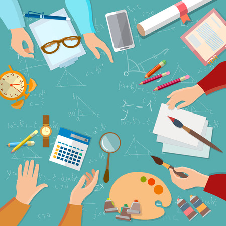exams: Education students preparing for exams people hands team  back to school vector illustration