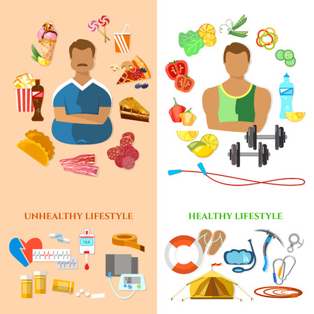 unhealthy lifestyle: Healthy lifestyle and unhealthy lifestyle banner fat man slim man diet and fitness fast food and obesity problem vector