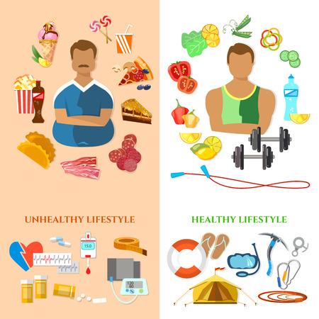 Stile di vita sano e non sano stile di vita bandiera uomo grasso dieta sottile uomo e fitness fast food e l'obesità problema vettore Vettoriali