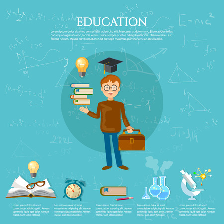 pedagogy: Education infographics student goes to school book of knowledge school background vector illustration