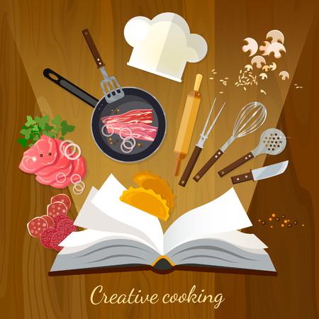 cookbook: Cookbook creative cooking vector illustration Illustration