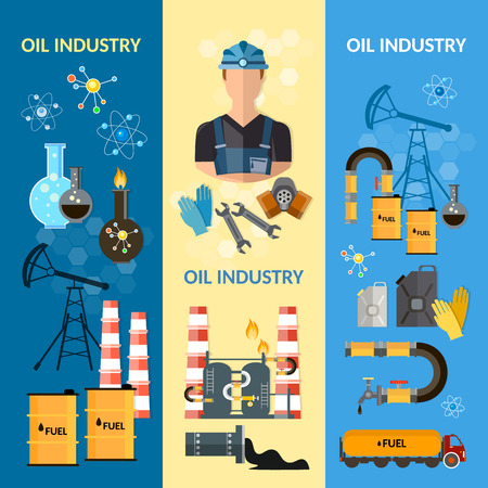 extraction: Oil industry banners extraction and processing of oil fuel transportation vector illustration Illustration