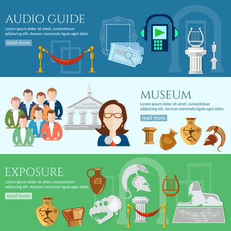 tour guide: Archeological museum banner tour guide museum group of tourists gallery history and culture of civilization vector Illustration