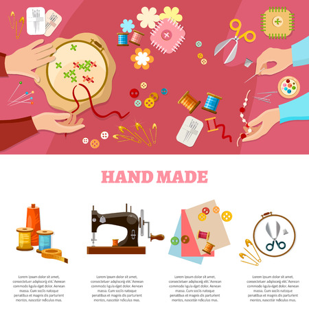 Tailor infographics seamstress fashion designer needlework lessons team hands vector illustration
