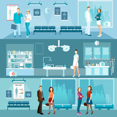 hospital corridor: Medicine banners interior hospital doctor and patient emergency room vector illustration Illustration