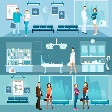 emergency room: Medicine banners interior hospital doctor and patient emergency room vector illustration Illustration