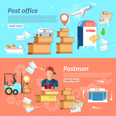 parcels: Post banners mail delivery mail letters and parcels shipping and handling vector illustration