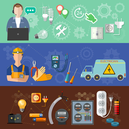electrical equipment: Electricity banners: call a professional electrician repairs and installation of electricity meters vector illustration