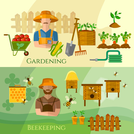 cultivation: Farmers banners gardening and beekeeping banner seedling cultivation vector illustration