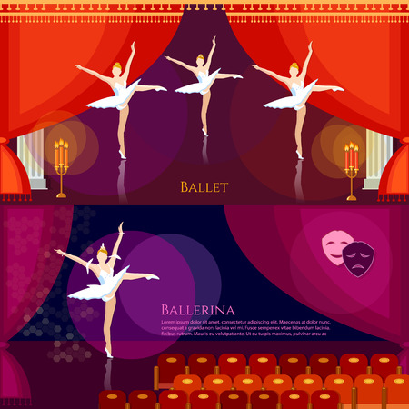 stage costume: Ballet banners ballerinas dancing on theater stage professional ballet vector illustration Illustration