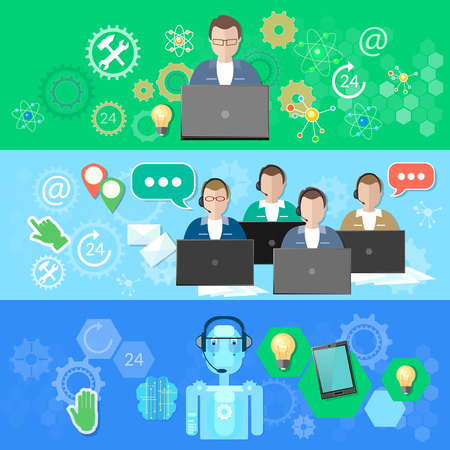 nano technology: Technical support call center and call service robotic support feedback vector banner Illustration