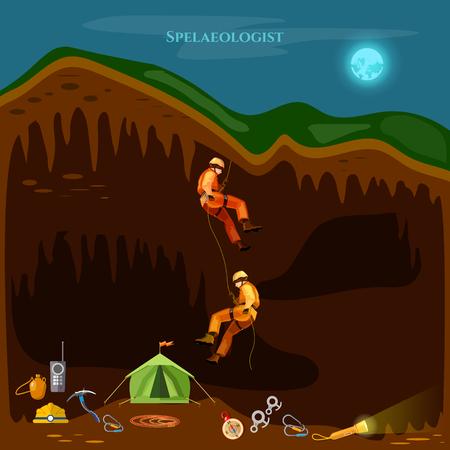 Professional cavers industrial climbing cave exploration vector illustration Иллюстрация