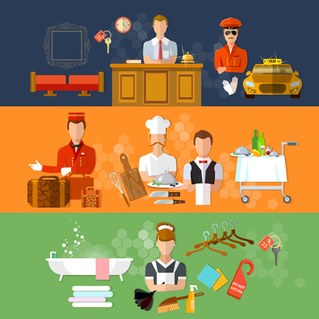 restaurant staff: Hotel service banners hotel staff reception reservation morning call cleaning vector illustration