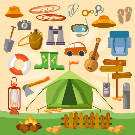 hiking boot: Set of camping equipment icons and symbols vector
