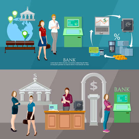 bank interior: Customers in the bank banner interior bank business people vector illustration
