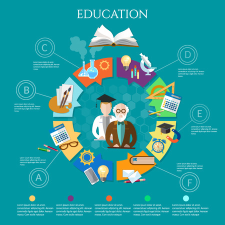 student book: Education infographic professor and student learning open book vector illustration