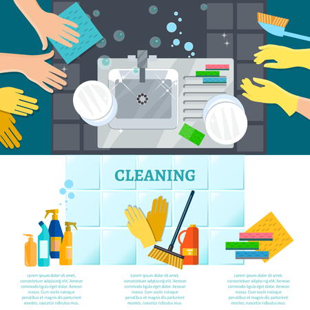 dirty house: Cleaning service infographics wash dirty dishes house cleaning vector illustration