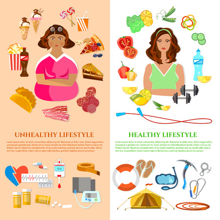 diabetes food: Healthy lifestyle and unhealthy lifestyle banner obesity problem diet and fitness fat and slim girl fast food illustration