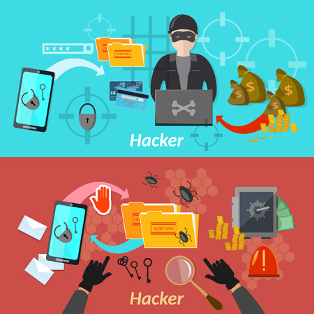 computer attack: Hacker attack banner mobile phone hacking protecting computer professional hacker illustration Illustration