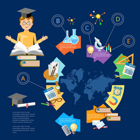 goes: Education infographic diagram knowledge student learning goes to school illustration Illustration