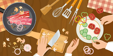 preparing food: Team of chefs preparing food top view cook at the kitchen table illustration
