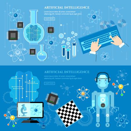 artificial intelligence: Artificial Intelligence banner creation of robots future technology illustration Illustration