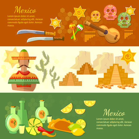 poncho: Mexico banners mexican culture and food poncho guitar sombrero illustration