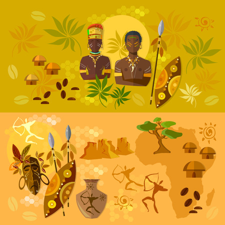 south african: Africa banner ancient tribes of African culture and traditions illustration Illustration