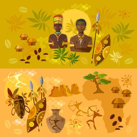 tribu: África bandera tribus antiguas de la cultura y las tradiciones de la ilustración de África
