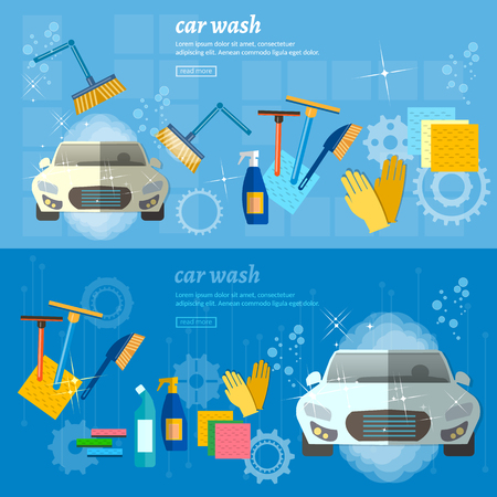car business: Car wash banner automatic car wash vector illustration Illustration