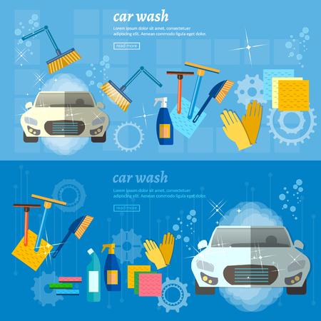 Car wash banner automatic car wash vector illustration Illustration