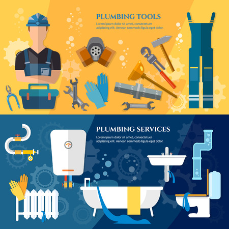 tube wrench: Plumbing service banner professional plumber water pipe repair of plumbing and heating systems vector illustration