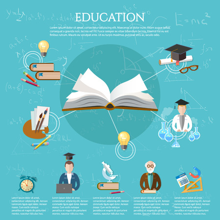 college student: Education infographic open book of knowledge professor and student learning elements of infographics education vector illustration Illustration