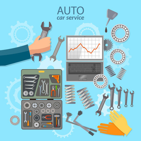 auto service: Car service mechanic tool box professional auto repair auto service center vector illustration